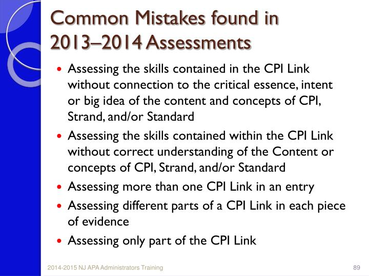 Common Mistakes found in