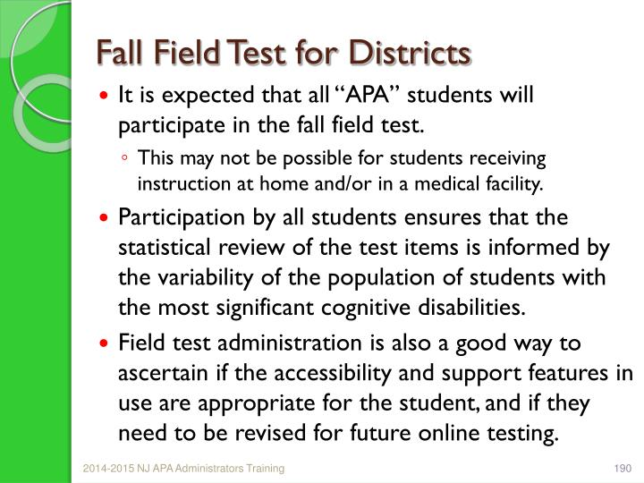 Fall Field Test for Districts