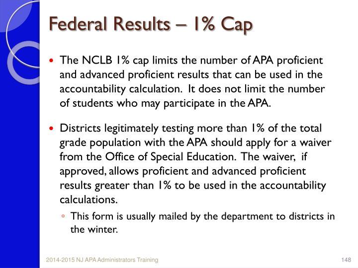 Federal Results – 1% Cap