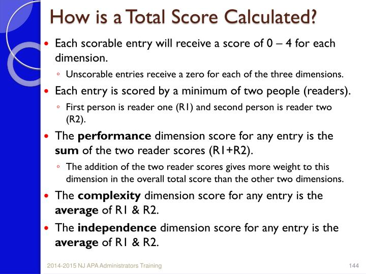 How is a Total Score Calculated?