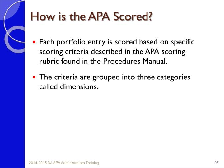 How is the APA Scored?