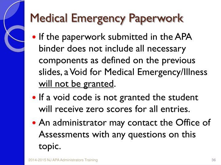 Medical Emergency Paperwork