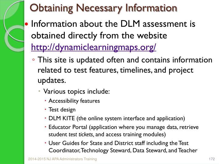 Obtaining Necessary Information