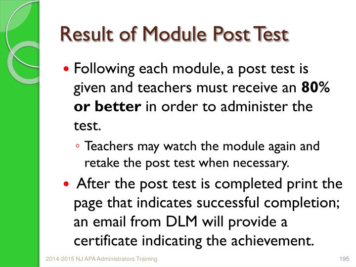 Result of Module Post Test