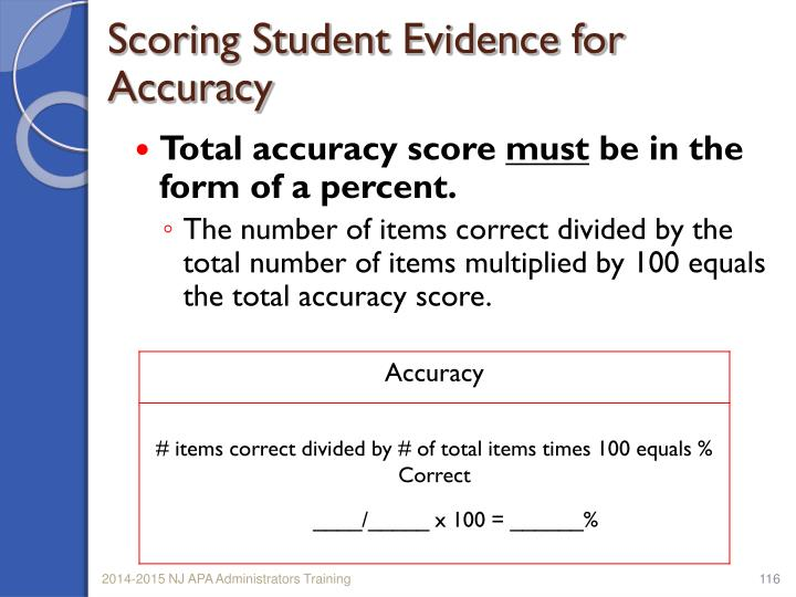 Total accuracy score