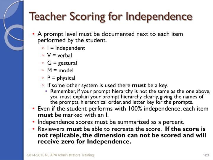 Teacher Scoring for Independence