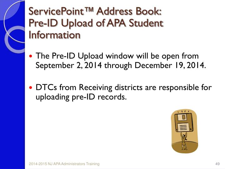 ServicePoint™ Address Book:
