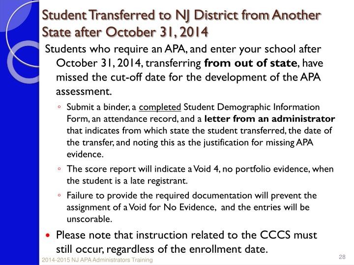 Student Transferred to NJ District from Another State after October 31, 2014