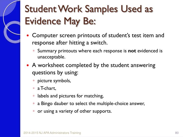 Student Work Samples Used as Evidence May