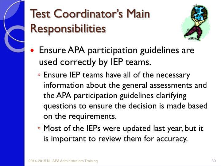 Test Coordinator's Main Responsibilities