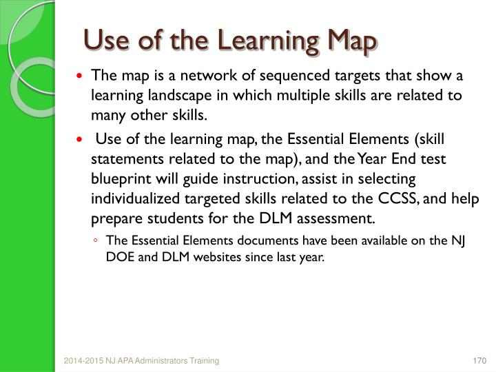 Use of the Learning Map