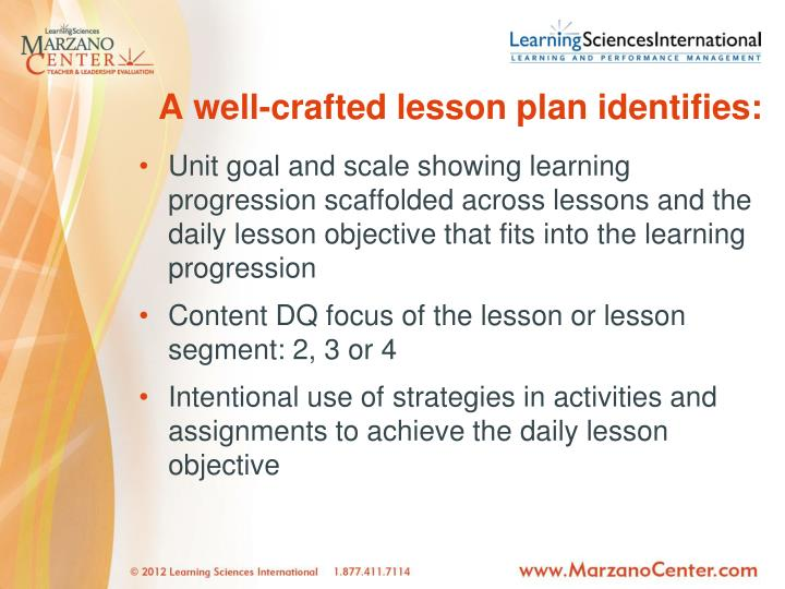 A well-crafted lesson plan identifies: