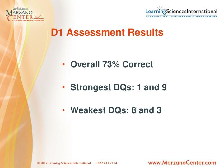 D1 Assessment Results
