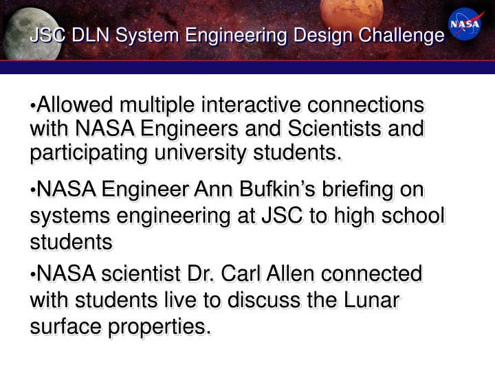 JSC DLN System Engineering Design Challenge