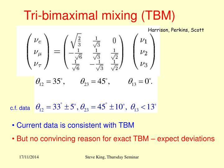 Tri-bimaximal mixing (TBM)