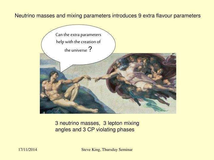 Neutrino masses and mixing parameters introduces 9 extra flavour parameters