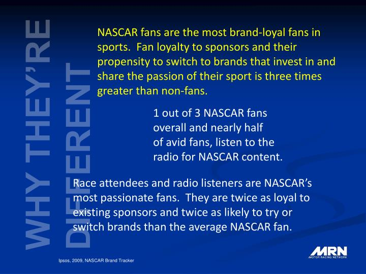 NASCAR fans are the most brand-loyal fans in sports.  Fan loyalty to sponsors and their propensity to switch to brands that invest in and share the passion of their sport is three times greater than non-fans.