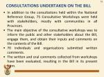 consultations undertaken on the bill