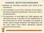 overview restitution programme
