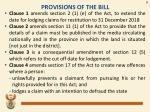 provisions of the bill