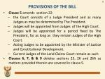 provisions of the bill1