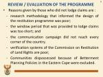 review evaluation of the programme1