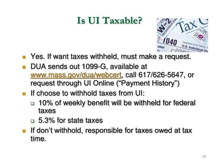 Is UI Taxable?