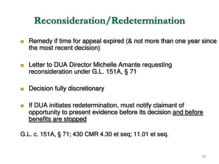 Reconsideration/Redetermination