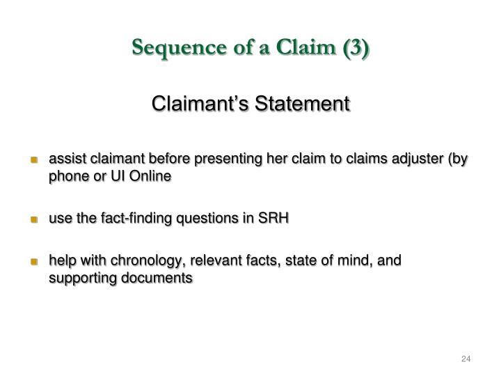 Sequence of a Claim (3)