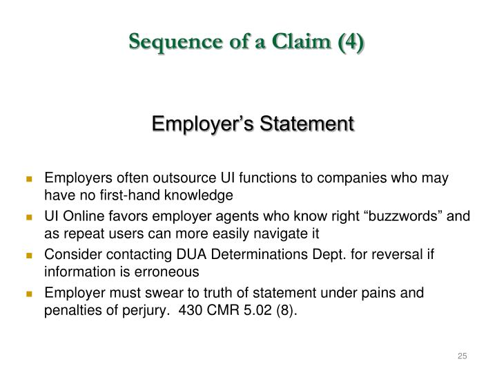 Sequence of a Claim (4)
