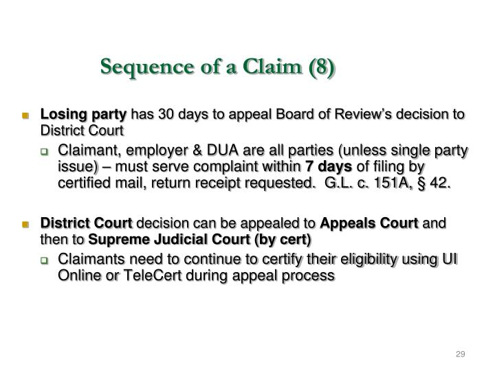 Sequence of a Claim (8)