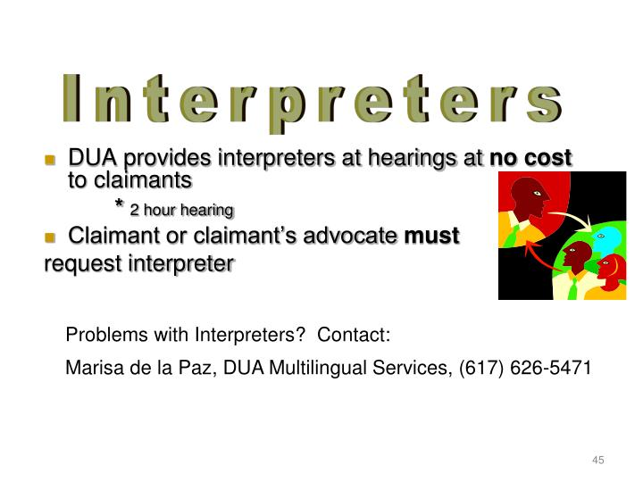 DUA provides interpreters at hearings at