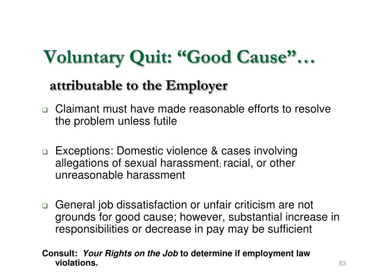 "Voluntary Quit: ""Good Cause""…"