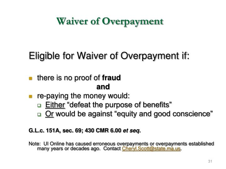 Waiver of Overpayment