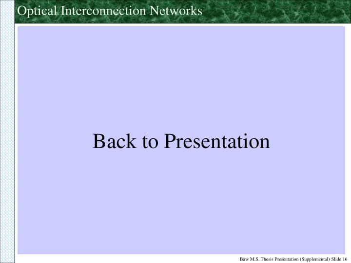 Back to Presentation
