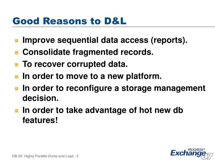 Good Reasons to D&L