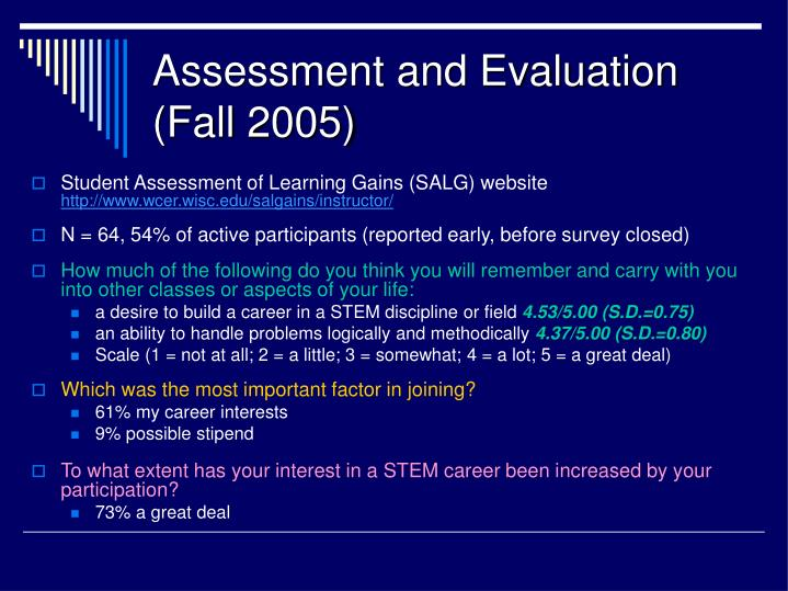 Assessment and Evaluation (Fall 2005)