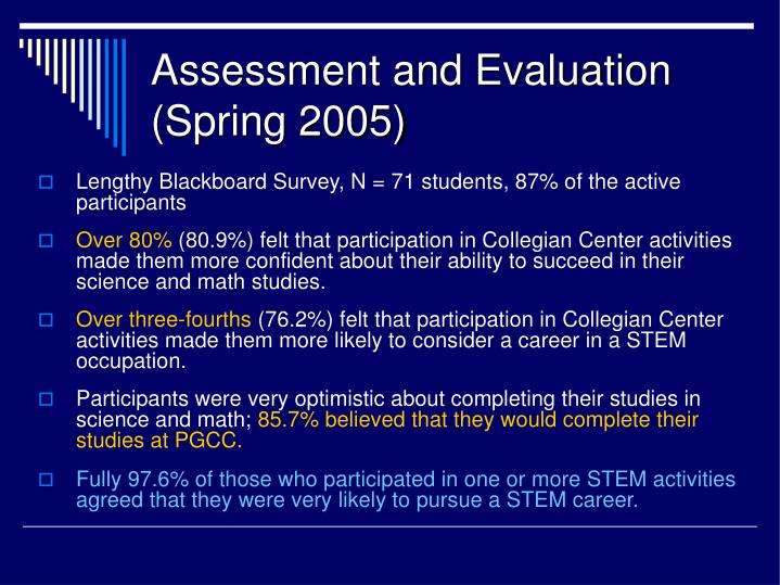 Assessment and Evaluation (Spring 2005)
