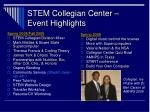 stem collegian center event highlights