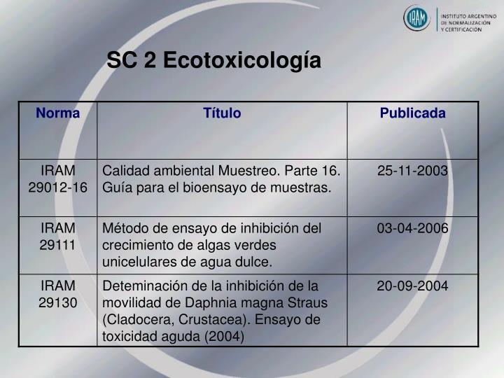 SC 2 Ecotoxicología