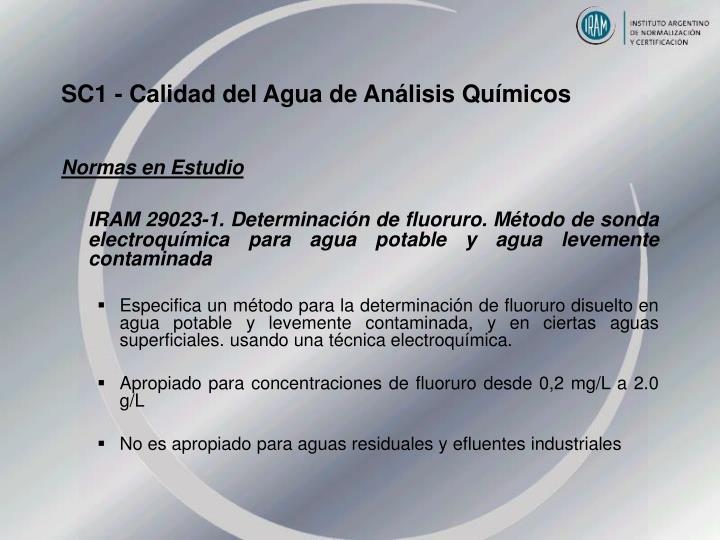 SC1 - Calidad del Agua de Análisis Químicos