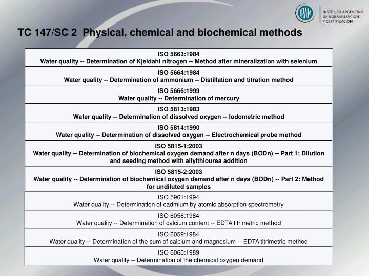 TC 147/SC 2  Physical, chemical and biochemical methods