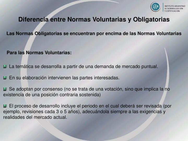 Diferencia entre Normas Voluntarias y Obligatorias