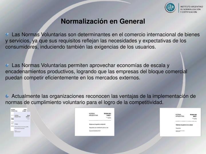 Normalización en General