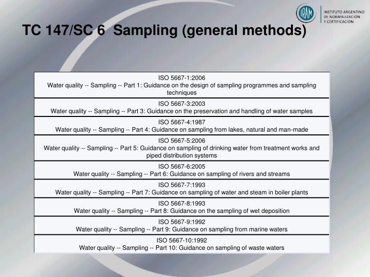TC 147/SC 6  Sampling (general methods)
