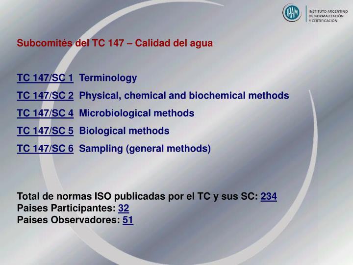 Subcomités del TC 147 – Calidad del agua