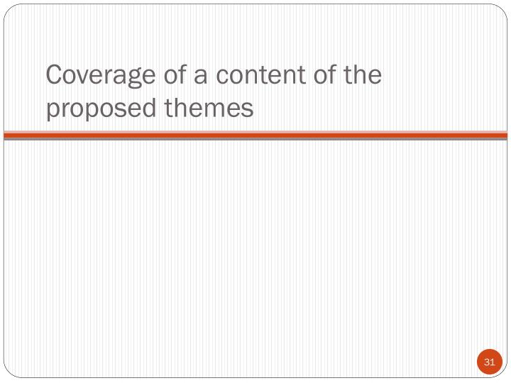 Coverage of a content of the proposed themes