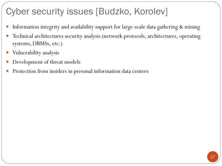 Cyber security issues [Budzko, Korolev]
