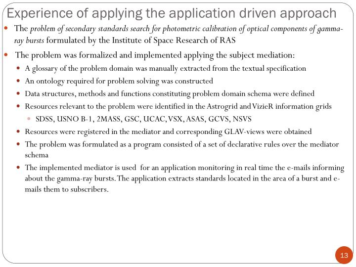 Experience of applying the application driven approach