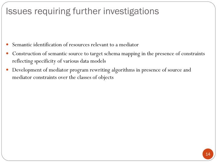 Issues requiring further investigations